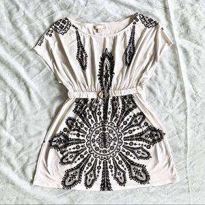 Mandala Black & White Hippie Boho Belted Dress